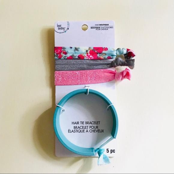 Hair Tie Bracelet + Elastic Bands 5pcs Turquoise 2980418abd4